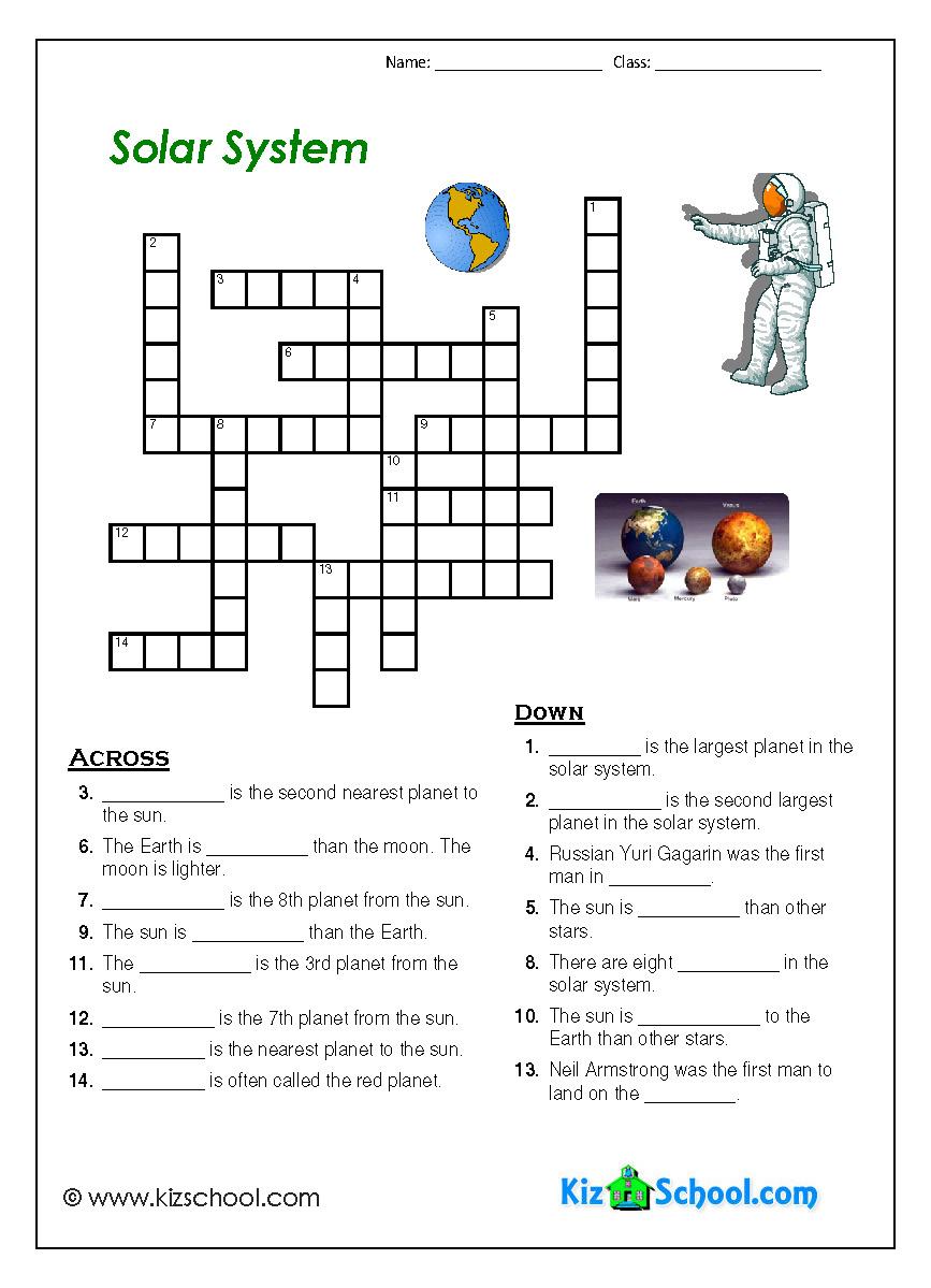 Worksheets Free Printable Solar System Worksheets index of kizschoolfreeworksheets solar system crossword page 1 jpg
