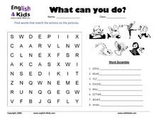 Printables Work Sheets On Action Verb esl kids worksheets action verbs set 2