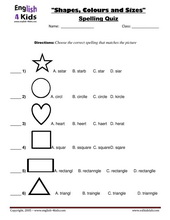 ESL Kids Worksheets Shapes & Colours Worksheets