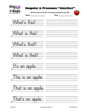 ... Kids Worksheets Demonstrative Pronouns, Singular & Plural Worksheets