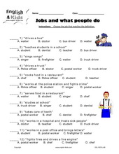 ESL Kids Worksheets Jobs & Occupations Actions & Places Worksheets