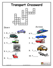 Printables Transportation Worksheets esl kids worksheets transportation cars train subway taxi transport crossword word search