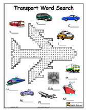 Worksheets Transportation Worksheets esl kids worksheets transportation cars train subway taxi transport crossword word search