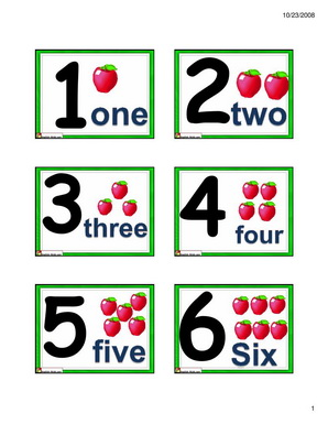 Number Names Worksheets printable numbers 1 to 10 : English for Kids,ESL Kids Numbers Flashcards- 1 to 10