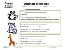 esl kids worksheets zoo animals worksheets. Black Bedroom Furniture Sets. Home Design Ideas